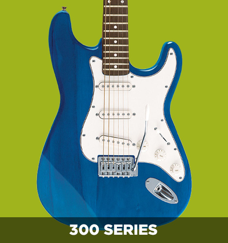 body of blue 300 series electric guitar